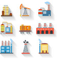 Industrial and Building icons flat style vector image