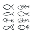 Isolated hand drawn fish signs vector image vector image