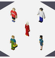 Isometric person set of male guy female and