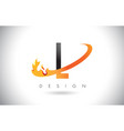 l letter logo with fire flames design and orange vector image vector image