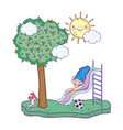 little girl in slide playing in the park vector image