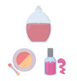 makeup and cosmetics cartoon icons in set vector image