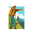 male tourist hiking in mountains with backpack and vector image vector image