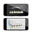 music application with piano keyboard and notes vector image vector image
