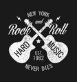 new york rock-n-roll print for apparel with guitar vector image vector image
