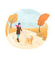 pet walking in autumn wind girl and dog isometric vector image vector image