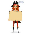 pirate girl with map pirate woman with scroll vector image