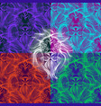 pop art lion linear seamless pattern vector image