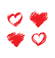 set hand drawn grunge red hearts vector image vector image