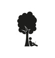 silhouette man under a tree stick figure vector image
