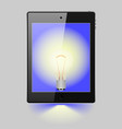 tablet with the image of a light bulb vector image