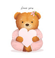 teddy bear holding heart valentine gift card vector image