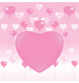 valentines day card light pink and pink balloons vector image