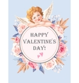 Valentines day card with roses and cupid vector image vector image