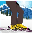 womans legs in ski boots with spray of snow vector image