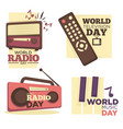 world radio or music and television day logo set vector image