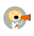 young girl with ice cream and megaphone icon vector image