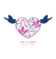pink flowers birds holding heart silhouette frame vector image