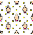 seamless pattern with middle finger icon vector image