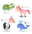 Alphabet with animals from T to W vector image vector image