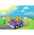 animals in car vector image vector image