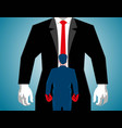 businessman boxing against a big man vector image vector image