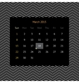 calendar page for march 2015 vector image vector image