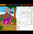 cartoon apatosaurus coloring page vector image