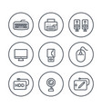 computer peripherals line icons on white vector image