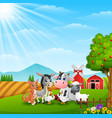 cute animals at farm background vector image vector image