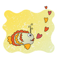 Cute cartoon fish in love vector image vector image