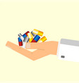 doctors hand holding pills health care concept vector image