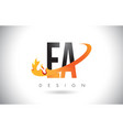 ea e a letter logo with fire flames design and vector image vector image