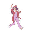 flat sketch tenn woman in santa hat dancing vector image