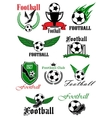 Football icons with sport game items vector image vector image