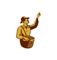 Fruit Picker Worker Pointing Woodcut vector image
