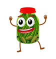 funny pickles glass jar character vector image vector image