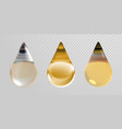 gold oil drops isolated on transparent background vector image