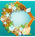 golden frame with an ornament made from sea shells vector image vector image