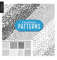 hand drawn black and white 8 patterns set vector image vector image