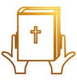 hands with holy bible vector image vector image