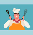 happy chef with kitchen tools in his hands vector image