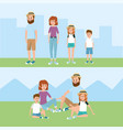 happy family together with hairstyle and clothes vector image