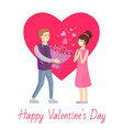 happy valentines day poster man presenting bouquet vector image
