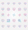 heartbeat colorful outline icons cardiac vector image