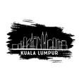 kuala lumpur skyline silhouette hand drawn sketch vector image