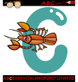 letter c for crayfish cartoon vector image vector image