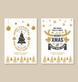 merry christmas and happy new year poster flyer vector image vector image