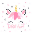 modern unicorn face background with text vector image vector image