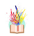 multicolored watercolor splashes fly off the book vector image vector image